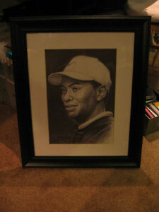 Framed Tiger Woods Pencil Drawing London Ontario image 1