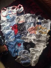 Bundle of boys baby vests, bibs & hats