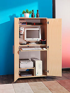 COMPUTER NEW MOBILE HIDEAWAY HOME OFFICE DESK WOOD R24B