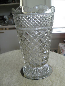 HEAVY OLD VINTAGE LARGE THICK PATTERNED CLEAR GLASS VASE