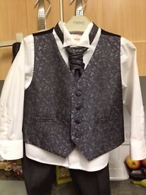 Boys shirt, waistcoat and cravat tie with matching trousers. Age 2-3 years.