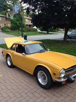 1975 Triumph TR-6, original hardtop convertible located downtown