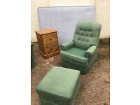 Parker Knoll Armchair & storage poufeé / footstool. Superb condition & quality (Matching Sofa bed)