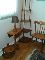 Roxton shelves, chair, table, and lamp
