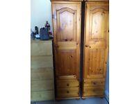 2x single pine wardrobes