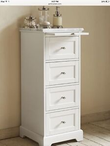 Pottery Barn marble sundry tower