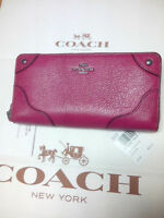 NWT COACH 52645 LEATHER MICKIE ACCORDION ZIP CRANBERRY MSRP$275