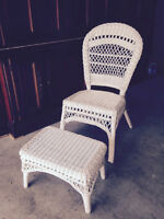 White Wicker Chair and Footstool