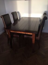 Dining Table & Leather Chairs