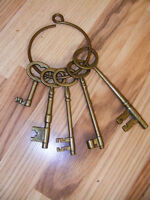 5 Large Solid Brass Keys