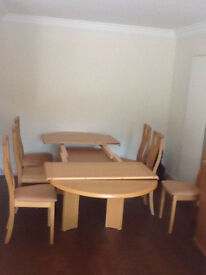 Solid Beech Skovby extendable dining room Table & 6 Chairs from Sterling ideal for Christmas