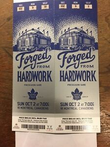2 Toronto-Montreal Tickets right behind net.$250