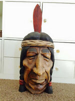 Wood carved Indian Head.