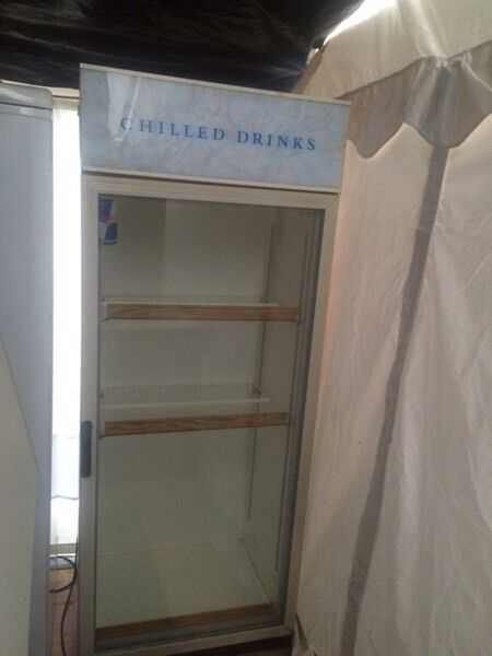 White chilled drinks H 180cm W 70cm refrigerators good condition with guarantee bargain