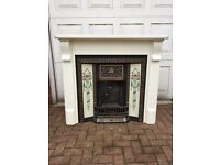 Gas fire cast iron fireplace wood surround