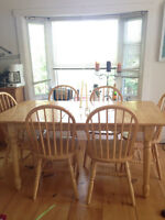 pine table and matching chairs