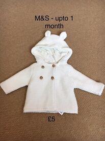 Unisex chunky knit cream cardigan/jacket, upto 1 month