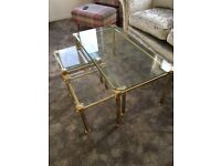 Toughened glass & solid brass coffee & side tables