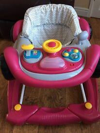 Mothercare 2 in 1 Red Car Baby Walker / Rocker