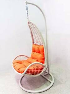 Outdoor Hanging Arm Chair Swing with White Stand Berwick Rattan Berwick Casey Area Preview