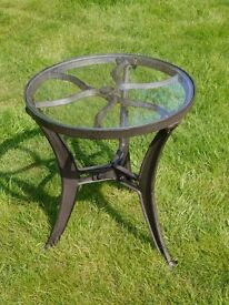 Industrial Vintage Style Glass Top Cast Metal Side Table
