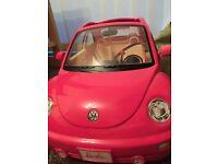 Pink Barbie beetle car