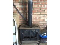 Cast iron free standing gas fire with flue (coal effect)
