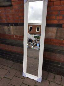 extra long white wooden swept framed mirror
