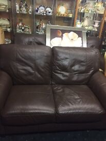 3 seater and 2 seater brown leather