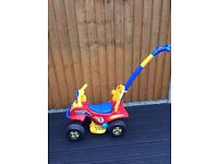 Kids toy quad - with removable push handle