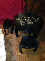 Vintage Hand Carved Japanese Coffee Table/4 Stools
