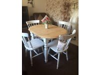 Shabby chic extending dining table and 4 chairs