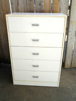 White DRESSER 5 Drawer TALLBOY Highboy Dresser