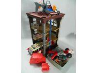 Original Ghostnusters firestation and box of Ghostbuster figures