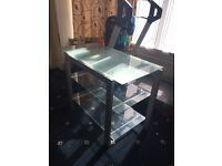 clear glass TV stand/table excellent condition