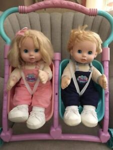 Too Cute Talking /InteractiveTwin Dolls, with stroller