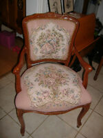 Antique French tapestry carved arm chairs