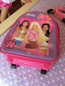 Barbie doll carrying case, bike, house furniture