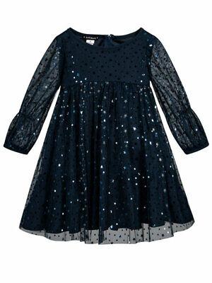 Girls Navy Party Dress (Biscotti Navy Blue Starry Night Girls Party Dress Chiffon Sizes 2T-10)
