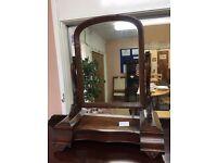 Antique Vintage darkwood dressing hall mirror