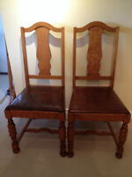 2 Antique oak and leather dining chairs