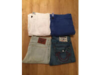 4 pairs of brand new men's True Religion denim shorts and board shorts. Various waist sizes