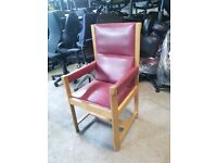 Red Leather and wooden framed high back chair