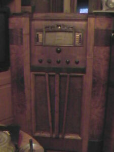 Floor standing GE Radio and Overton Grammophone