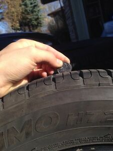 4 Hankook Optimo Winter Tires - 70% Tread Left-  P215/60R16 94V Kitchener / Waterloo Kitchener Area image 3