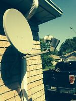 2 satellite dishes , one has two LNB other has one