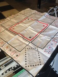 Fold up card table and bridge table cloth