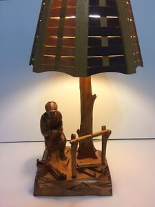 VINTAGE WOOD CARVED TABLE LAMP BY QUEBEC ARTISAN CARON Cornwall Ontario image 9