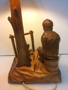 VINTAGE WOOD CARVED TABLE LAMP BY QUEBEC ARTISAN CARON Cornwall Ontario image 7
