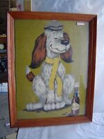 """collectible vtg """"dog beer  """" Oil Painting  Canvas"""